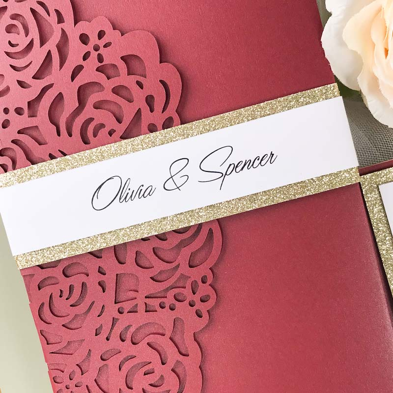Burgundy & Champagne Gold Glitter Laser Cut Rose Lace Wedding Invitation PWIL156