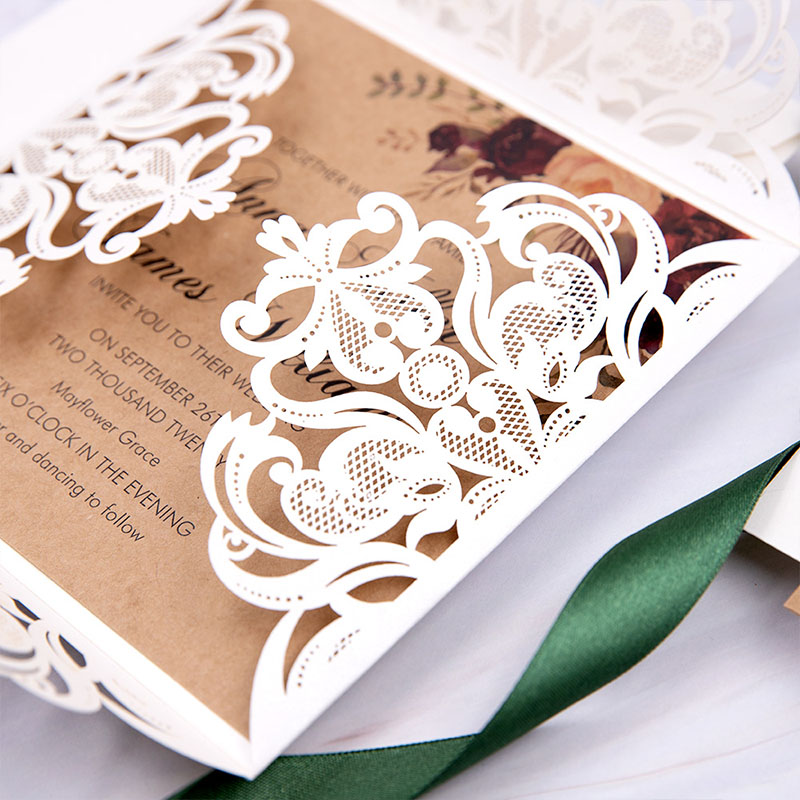 Floral Patterned Ivory Laser Cut Rustic Wedding Invitation PWIL158