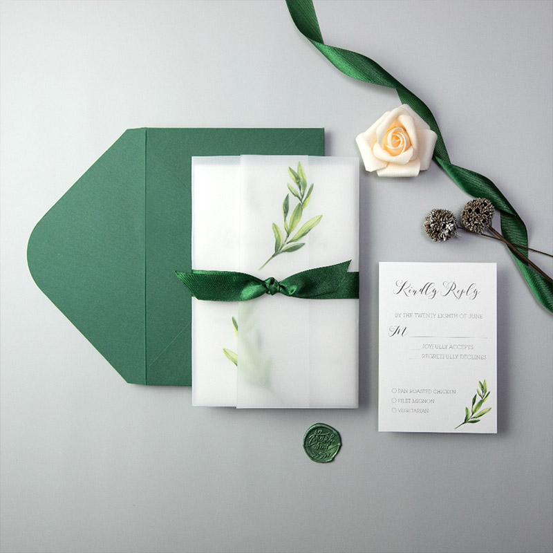 Botanical Forest Green wedding invitations