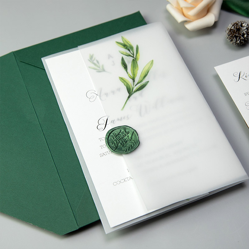 Botanical Olive Leaf Wedding Invitations With Matching Vellum Paper Wrap PWIM020