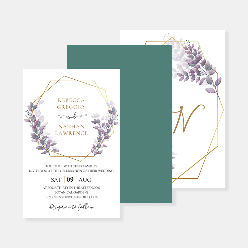 Lavender Eucalyptus Greenery Garden Wedding Invitation Suite w/ Custom Foil Envelope PWIM021