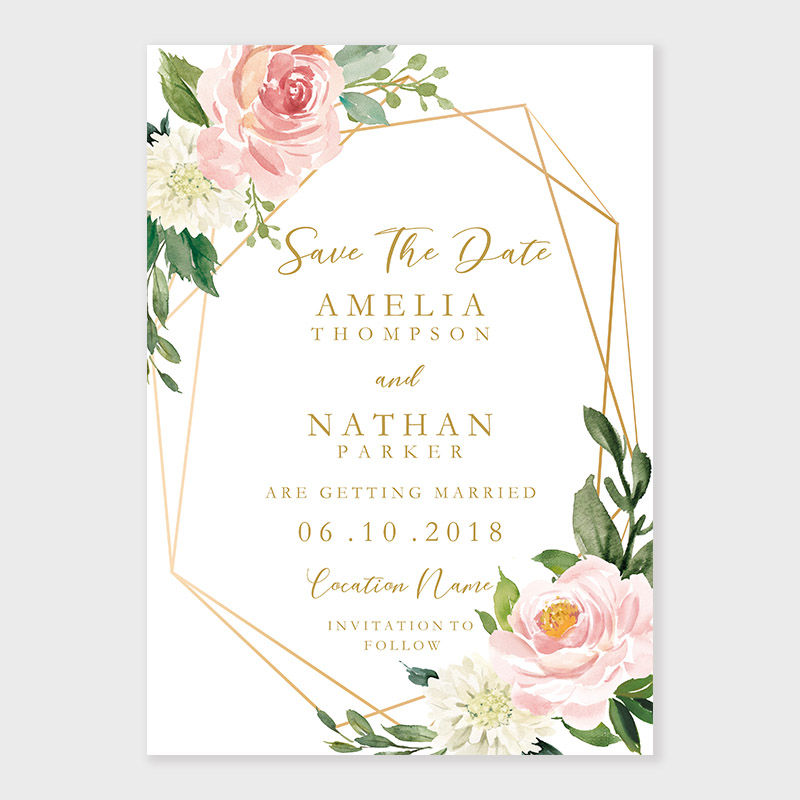 Geometric Blush Gold Floral Save The Date Invite PWIS016