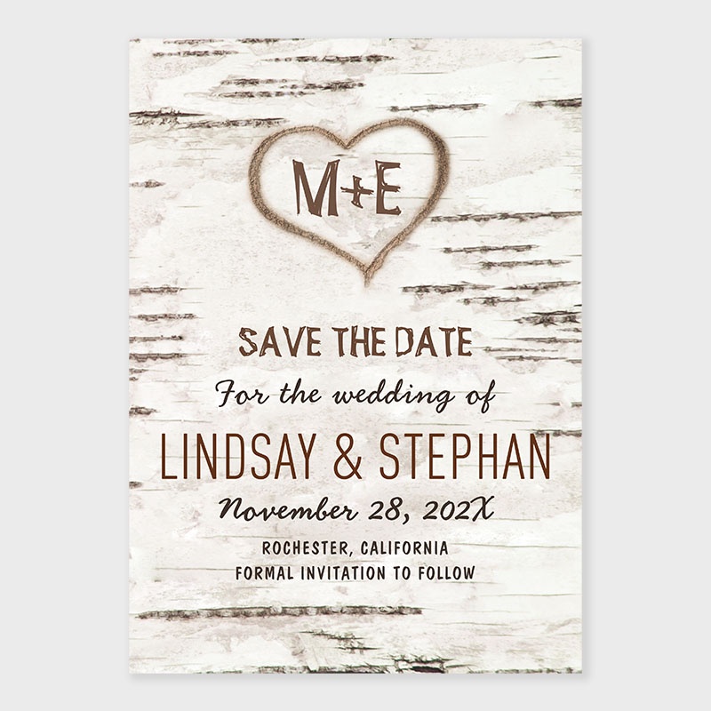 Country Rustic Birch Tree Bark Save The Date Card PWIS017