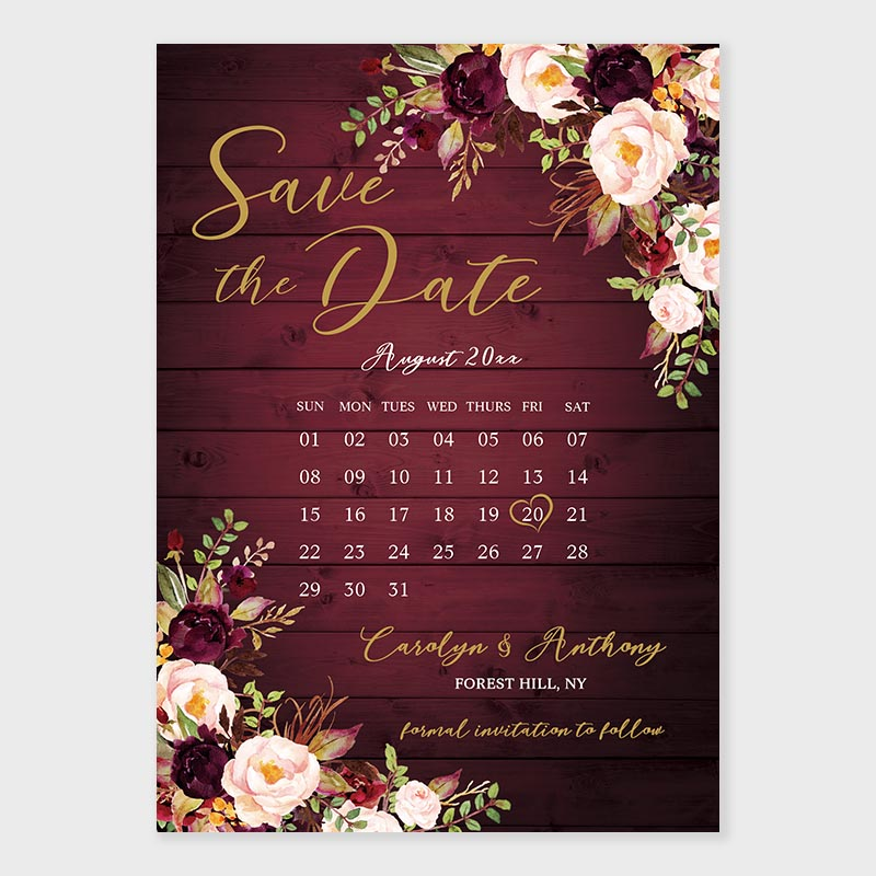 Rustic Wood Barn Burgundy Floral Save The Date Cards PWIS019