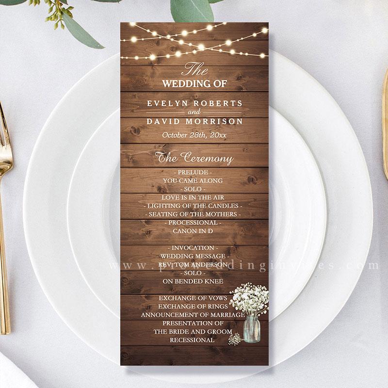 Baby Breath Lightstring Wooden Rustic Wedding Program Card PWIW015