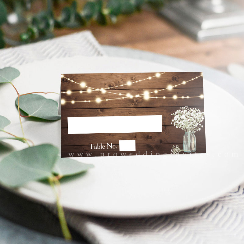 Baby Breath Lightstring Wooden Rustic Wedding Place Card PWIW017