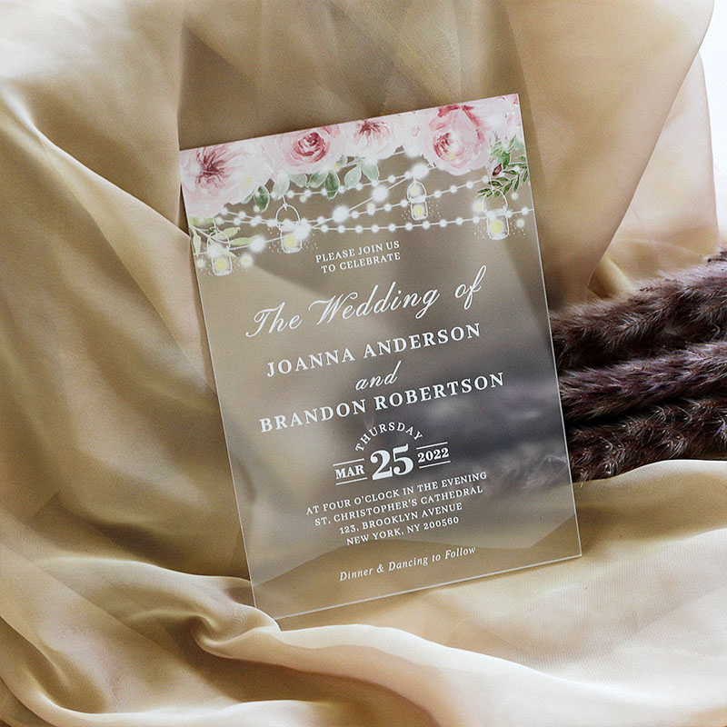 Dusty Rose Pink Dusk Blue Mason Jar Frosted Acrylic Rustic  Invites for Wedding, Quinceanera, Sweet Sixteen invitation, Baby Shower PWIA016