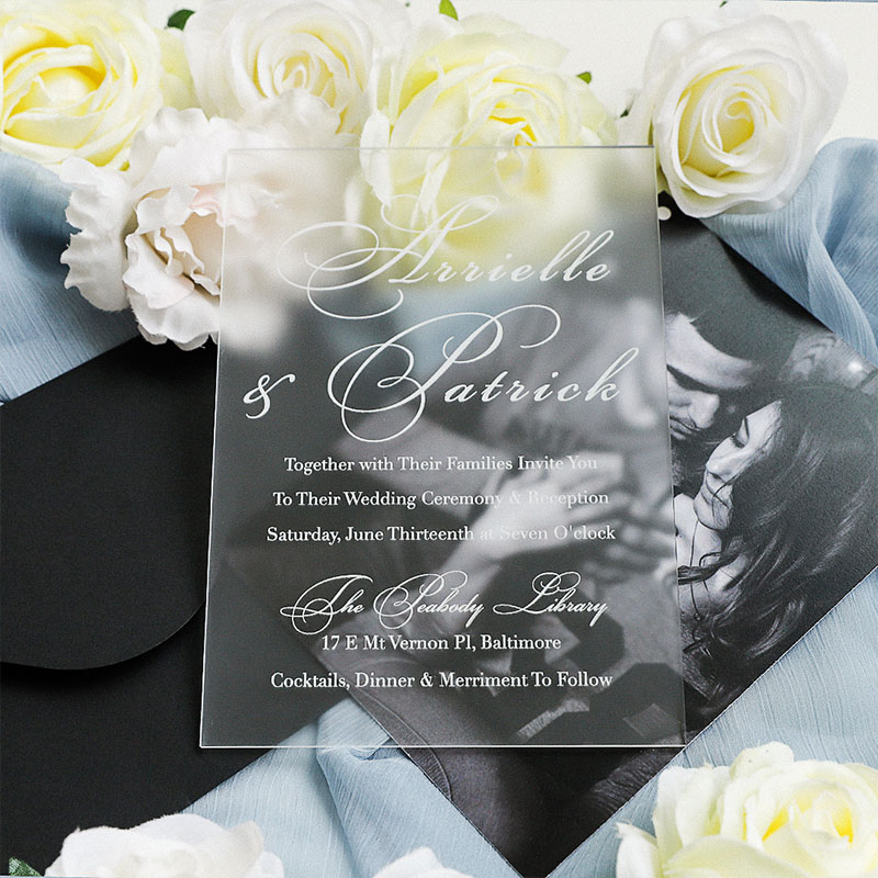 Frosted Calligraphy Acrylic Clear Invites Custom Photo Save The Date Cards PWIA017