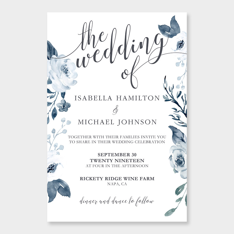 French Blue Winter Invitations for Wedding, Quinceanera, Sweet Sixteen invitation, Baby Shower PWIF080