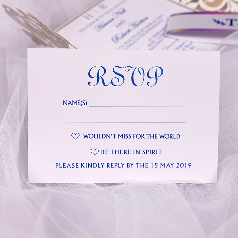 Laser Effect Silver and Royal Blue Foil Laser Cut Wedding Invitations PWIG009