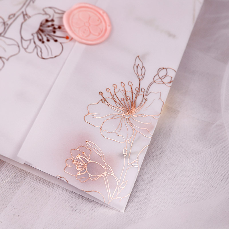 Elegant Rose Pink Foil Geometric Chic Wedding Invitations with Foil Vellum Wrap PWIG010 (Limited Stock! Please Contact Us For Samples)