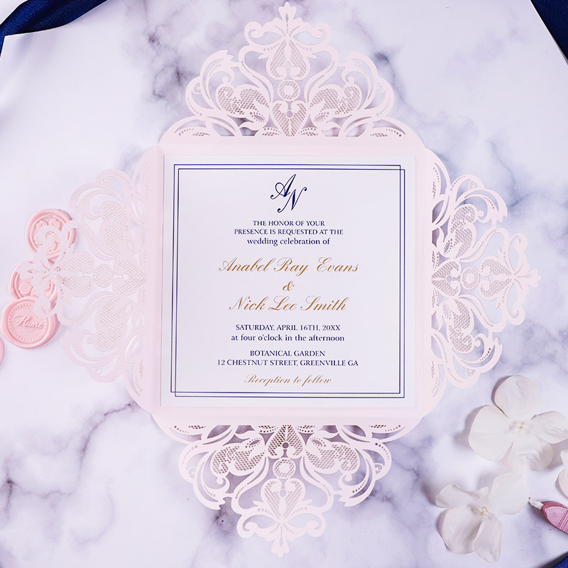 Classic Unique Blush Pink Blue Laser Cut Invitation for Wedding, Quinceanera, Sweet Sixteen invitation, Baby Shower PWIL160