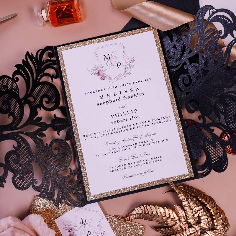 Moody mauve with black Wedding Color Ideas with Matching Invitations