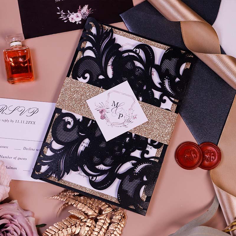 Moody Mauve Black Industrial Wedding Invitations PWIL161