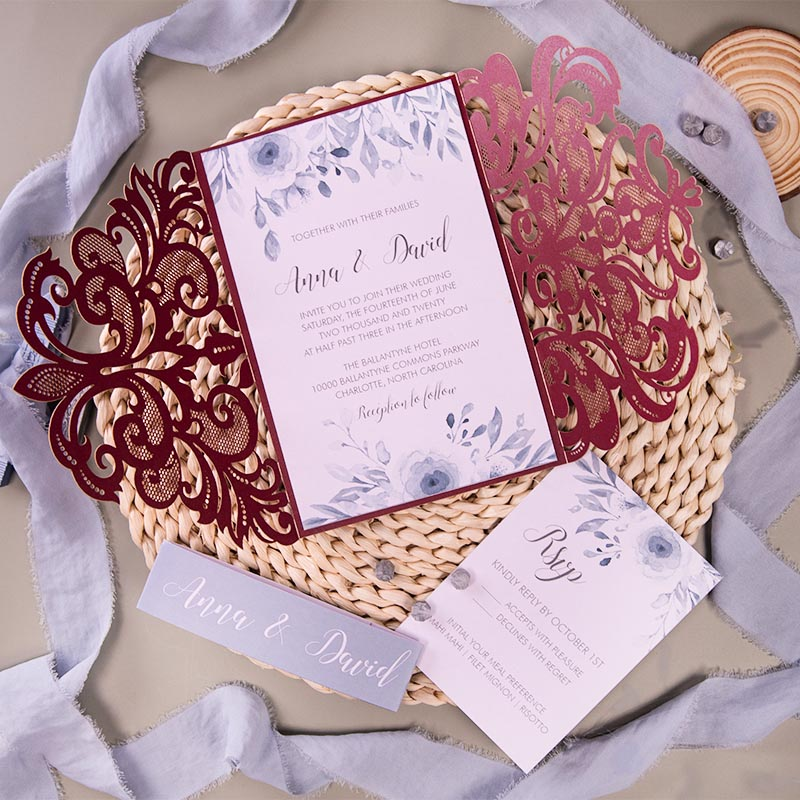 Burgundy Laser Cut Warps With Dusty Blue Wedding Invitation PWIL162