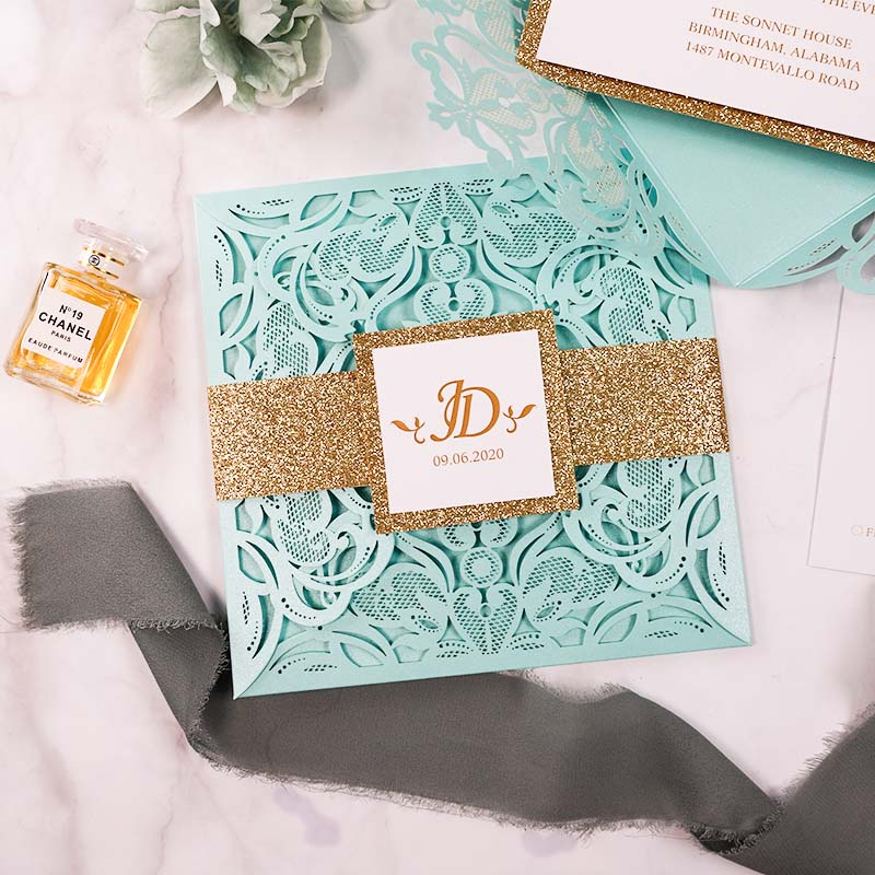 Mint and Gold Laser Cut Invitation for Wedding, Quinceanera, Sweet Sixteen invitation, Baby Shower PWIL163