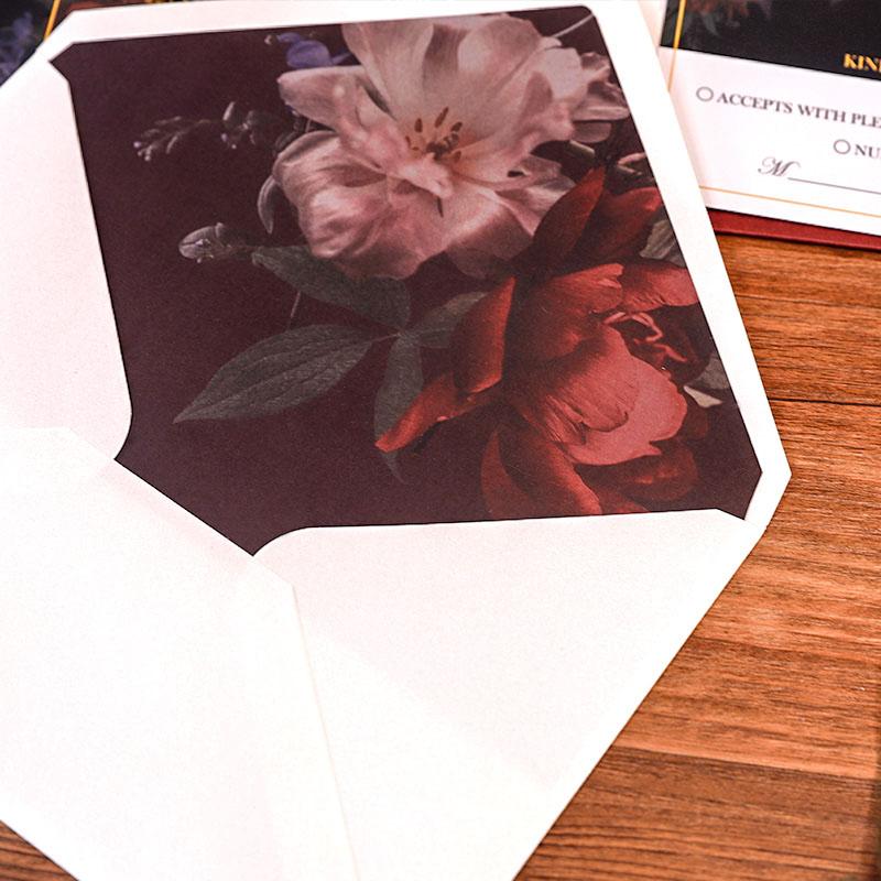 Vintage Rembrandt Inspired Dutch Master Floral Botanical Wedding Invitations PWIM022
