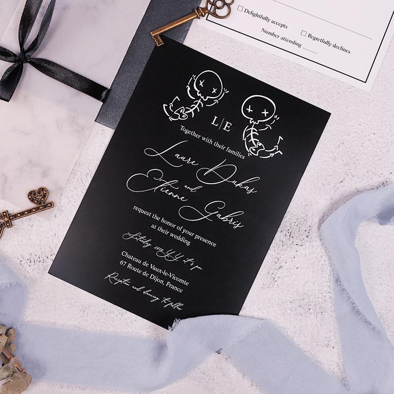 Funny Skeleton Couple Black Marble Vellum Halloween Wedding Invitations PWIM023