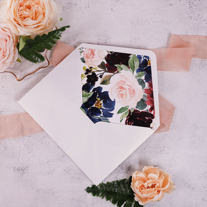 Burgundy Navy Floral Rustic Wedding Invitation with Floral Vellum Wrap PWIM024