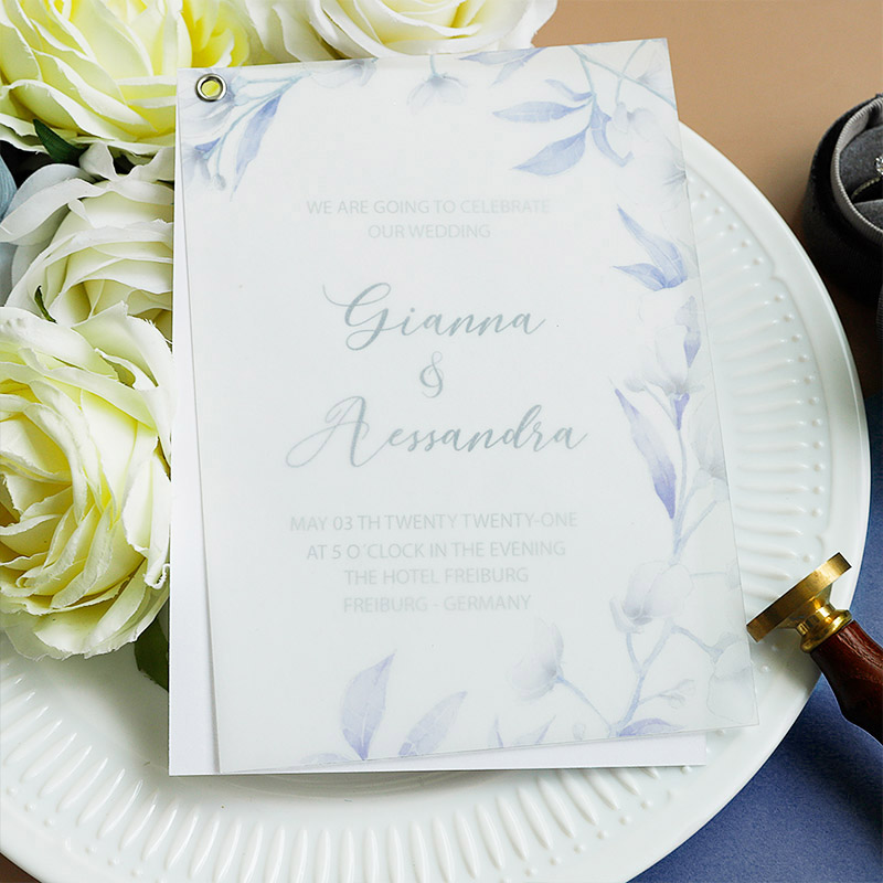 Unique Blue White Orchid Floral Wedding Invitations with Eyelet Vellum Overlay PWIM026