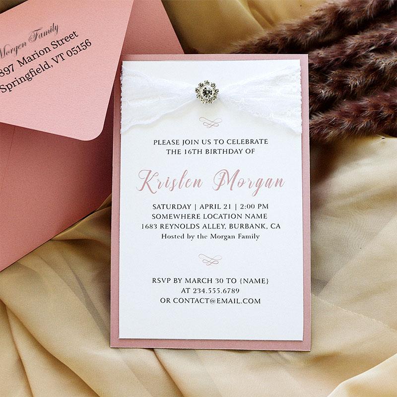 Lace Rose Pink Invitation with Rhinestone,  Sweet 16 Christening Invitation, Baptism Invitation, Quinceanera PWIM027