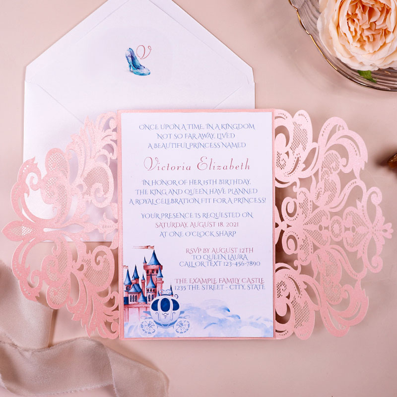 Cinderella Quinceanera Invitation, Carriage Invitation XV Anos Sweet Sixteen invitation, Baby Shower PWIQ015