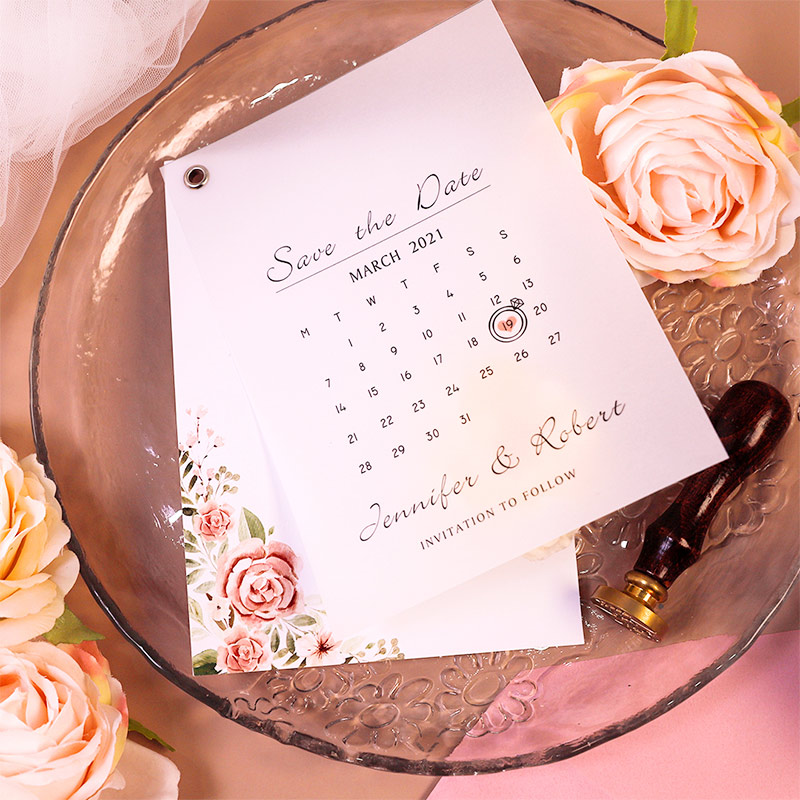 Romantic Pink Floral and Calendar Design Save The Date Cards PWIS023