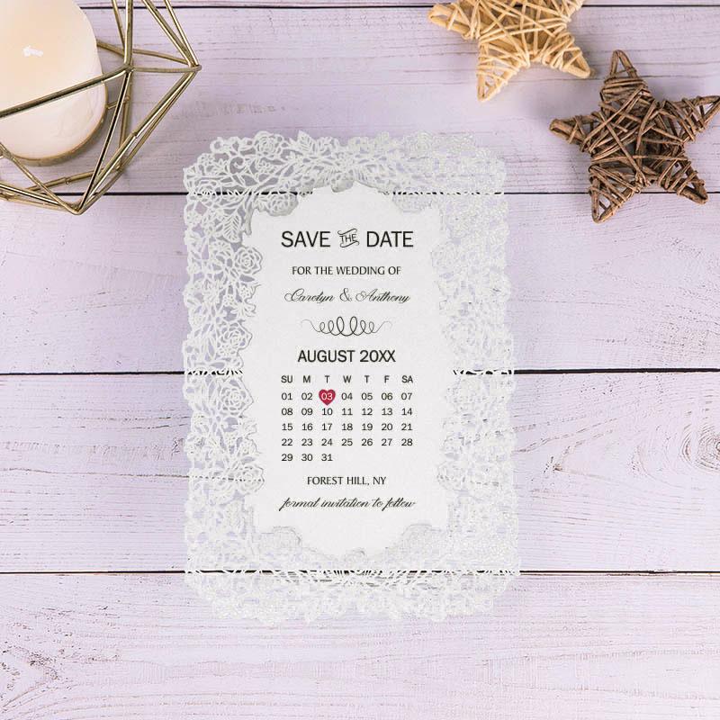 Lace Laser Cut Border Calendar Design Save The Date Cards PWIS024