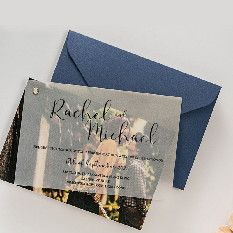 Affordable chic save the date card with a romantic photo layer PWIS025