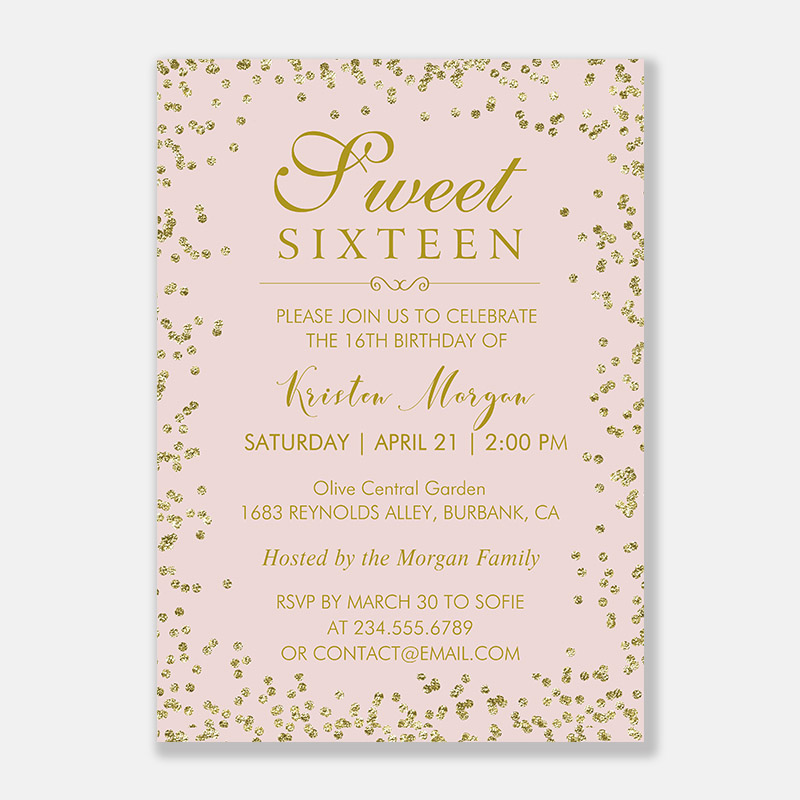 Faux Gold Glitter Sweet 16 Quincea?era Birthday Party Invitation PWIT007
