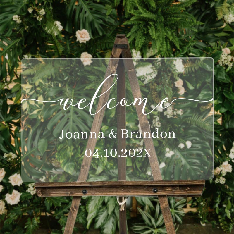 Custom Wedding Signs Acrylic Welcome Sign Clear and Chic Calligraphy