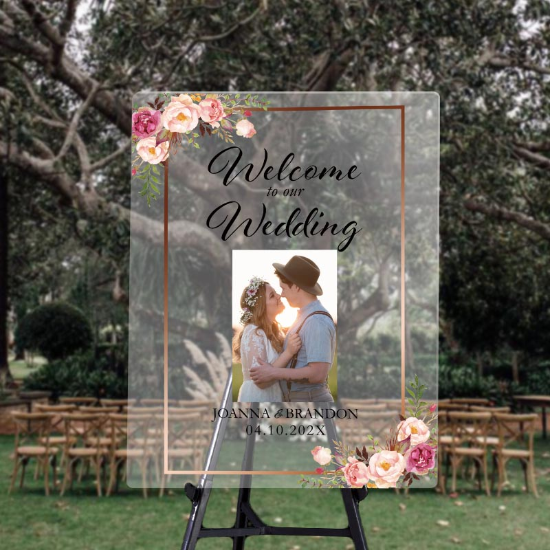custom photo wedding signs with faux metallic gold frame
