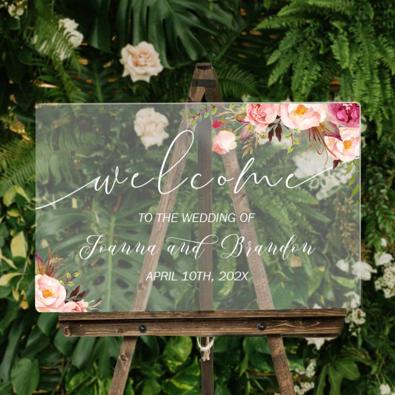 custom wedding signs pink and blush rustic acrylic welcome sign