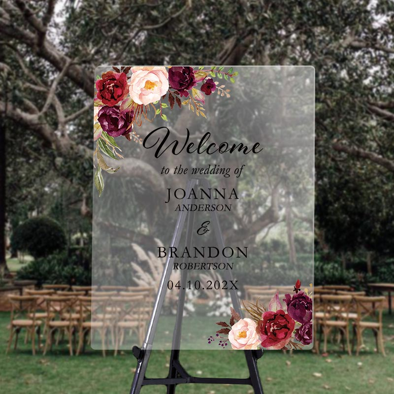 custom wedding signs burgundy and blush outdoor acrylic welcome sign