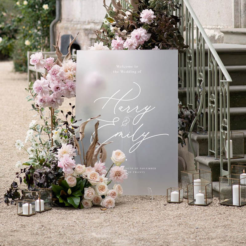 White Simple Frosted Acrylic Custom Wedding Welcome Signs