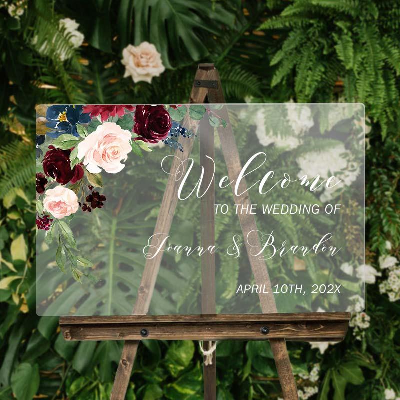 Elegant Floral Wedding Sign UV Ink Clear Welcome Sign