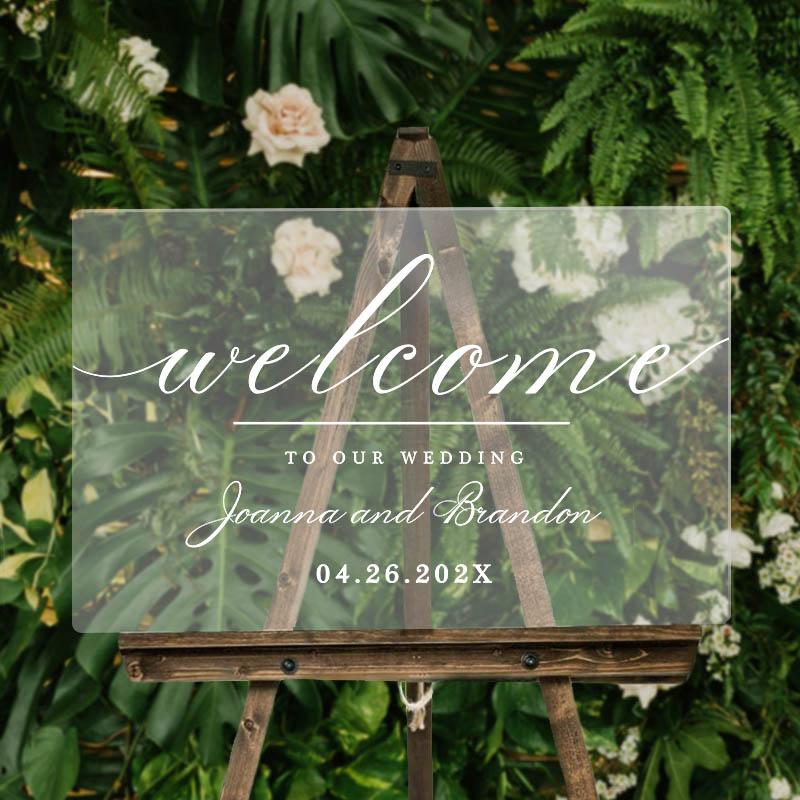 Elegant Calligraphy Wedding Sign Acrylic Welcome Sign