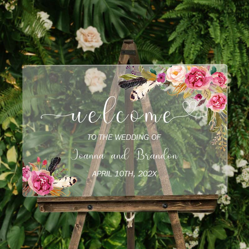 Pink and Fushica Floral Bouquet Bohemian Wedding Sign