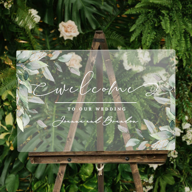 Botanical Gold Leaves Outdoor Wedding Welcome Sign