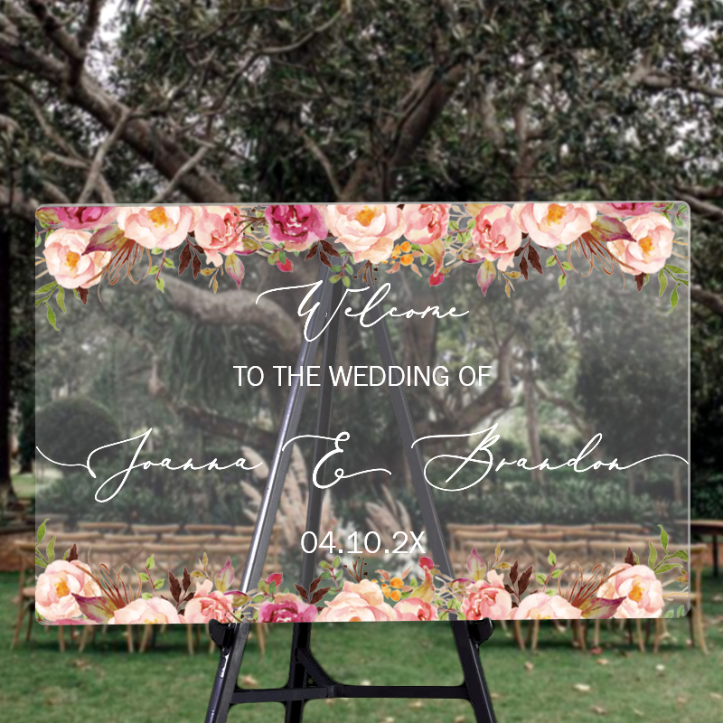 custom wedding signs blush pink rustic acrylic welcome sign