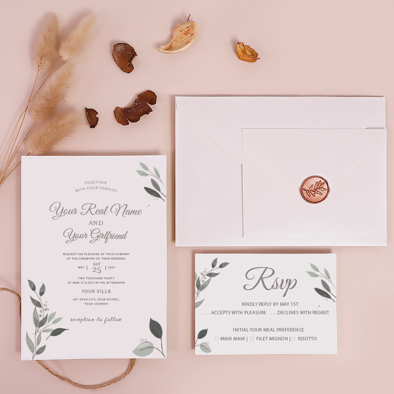 Refreshing Green Recyclable Eco-friendly Wedding Invitation Card PWIE001