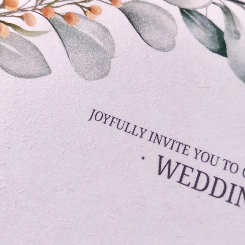 Sustainable Botanical Greenery Eco-friendly Wedding Invitation PWIE002