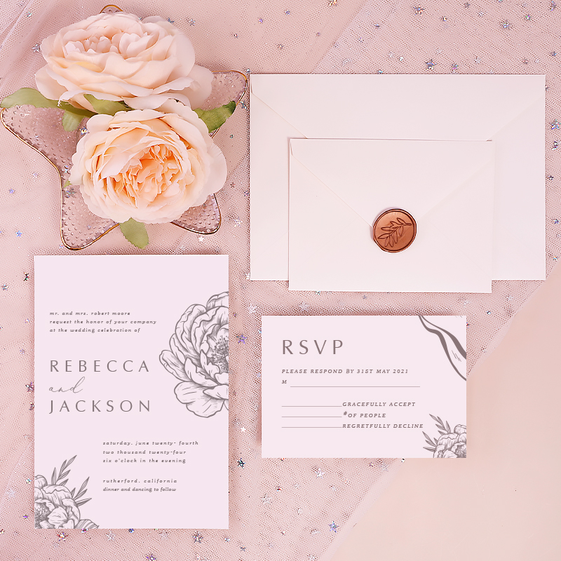 Elegant Floral Recyclable Wedding Invitation with Natural Texture PWIE003