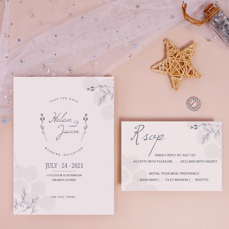 Simple Modern Morandi Eco-friendly Wedding Invitation PWIE004