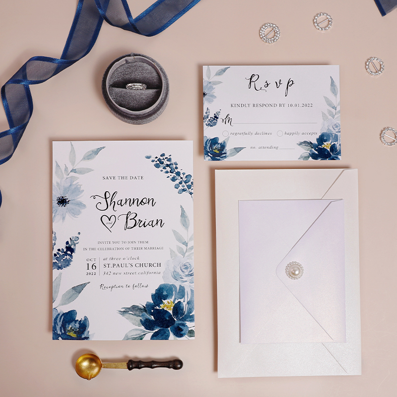 Blue Watercolor Floral Recyclable Wedding Invitation Card PWIE005