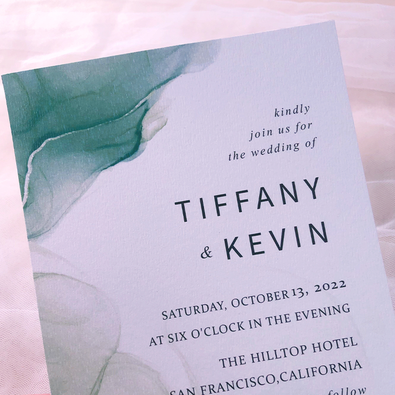 Elegant Sustainable Recyclable Wedding Invitation Card in Flowing Green Shades PWIE006