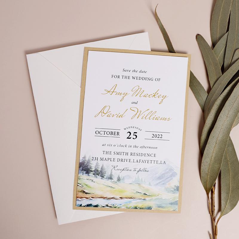 Rustic Watercolor Scenery Recyclable Wedding Invitation Card PWIE007