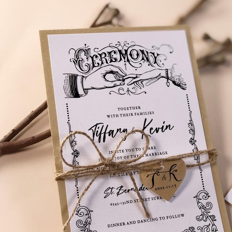 Eco-friendly Rustic Retro Wedding Invitation Card with String PWIE008