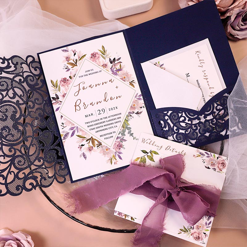 Garden Mauve Navy Blue Laser Cut Wrap Invitation Stacked Style Cards PWIL165