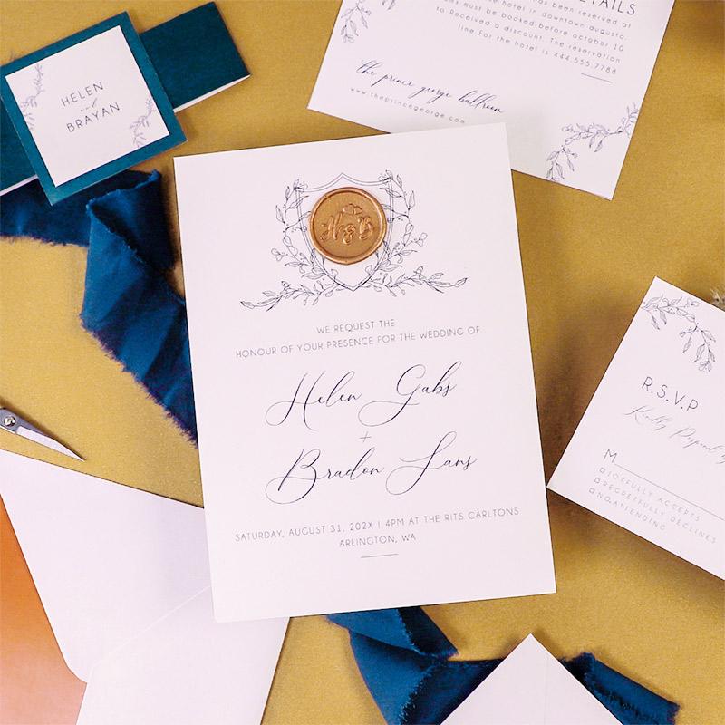 Teal Burnt Orange Calligraphy Wedding Invites with Custom Wax Seal Sticker PWIM029